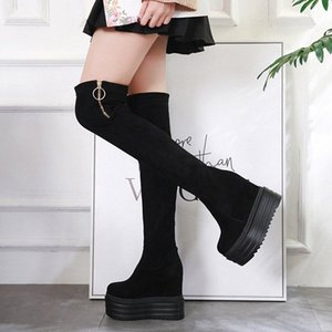 Increase Within Womens Boots 2020 New Ultra High 13 Cm Thick Bottom Over The Knee Boots Europe America Style Long Tube Boot Black Knee vBRu#
