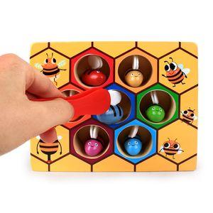 ABEDOE Colmena Colmena Clip Juegos de Inteligencia Cognición juguete del color del clip de madera pequeña abeja del bebé la primera infancia Iron Kid regalo
