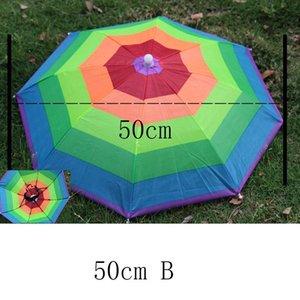 야다 야외 우산 모자 참신 접이식 일 날 비오는 날 핸즈프리 무지개 접는 방수 여러 가지 빛깔의 모자 캡 Ys0018 bbyRuw의 bdebaby