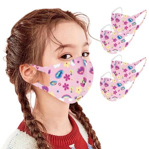 4pcs Seamless Children Kids Mask Boys Girls Cartoon Print Face Mask Washable Reusable Dustproof Protective Mouth Mask Cover sqcJHy homecart