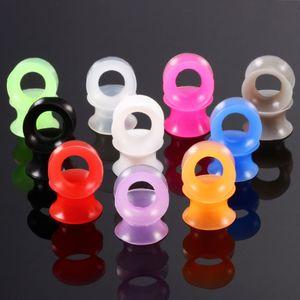 10 pcs de bouchons d'oreille souples en silicone et tunnels Double Flared Ear Tunnel Plug-Jauges Kit oreille Bijoux Body Piercing Stretching