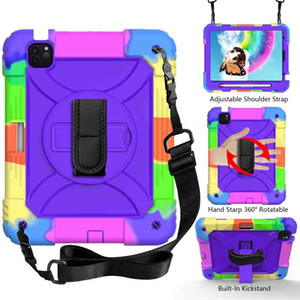 For iPad Air 4 10.9 2020 Case High Impact Heavy Duty Hybird Shoulder Hand Strap Kids Hard PC Rugged Shockproof Tablet Cover