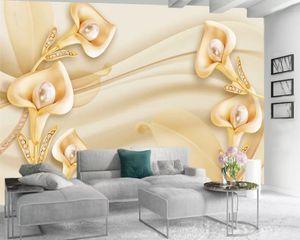 Custom 3d Flower Wallpaper 3d Bedroom Wallpaper Delicate Calla Lily Romantic Flora Decorative 3d Mural Wallpaper