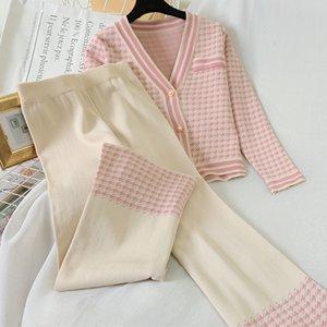 Women Knit Houndstooth Cardigan Long Sleeve Sweater Coat + Wide Leg Pants Sets Elegant V-neck Jacket Trousers 2PCS Plaid Outfits 201008
