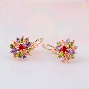 2020Colors Luxury Silver Rose Gold Color Flower Stud Earrings with Zircon Stone Women Birthday Gift Bijouterie YMJIE014