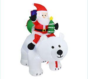 Рождество Санта-Клаус Hotselling снеговика Надувной костюм рождественской вечеринки костюм Одежда Надувной Санта-Клаус с медведем Интерьер HHB2405
