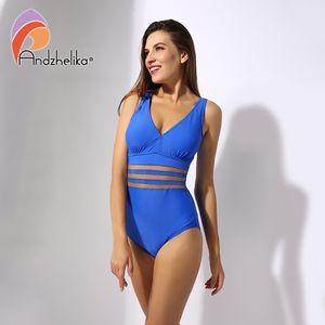 Andzhelika Plus Size Swimwear Mulheres Uma peça Swimsuit Sexy Malha Sólida Vintage Ternos Retro Banhando Swim Monokini Y200824