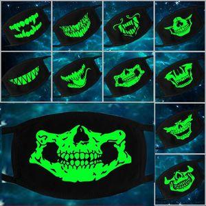 Fluorescent Face Mask Demon Skull Mask Soft Breathable Cotton Luminous Mask Dustproof Riding Halloween Unisex Mouth-muffle DHL Free Shipping