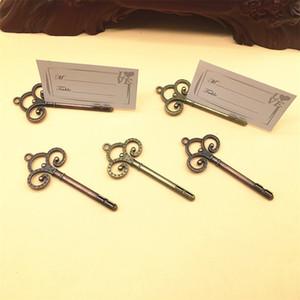 Hochzeit Bevorzugungen Skeleton Key-Platzkartenhalter Antique Bronze Copper Key-Tabellen-Zahl Ständer Tischkartenhalter Hochzeit Dekoration BWC3399