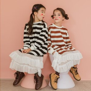 2020 Fall New Children Striped Dress Korean Mommy and Me Clothes Mesh Patchwork Dress Kids Dresses for Girls Cotton, #9124