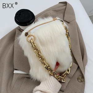 [BXX] Faux Fur Small Totes New Fashion Shoulder Handbags Fall and Winter Female Luxury Trend Soft Warm Bags Beautiful HQ306