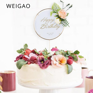 Weigao Gold Letters Happy Birthday Acrilico Cake Toppers Fiori artificiali per la festa di compleanno Decorazioni cupcake Baby Shower1