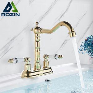 Rozin Gold Basin rubinetto Dual Ceramics Maniglia WideSpread Bathroom Rubinetti per il bagno Bustina girevole montata a ponte Miscelatori a freddo acqua calda 2