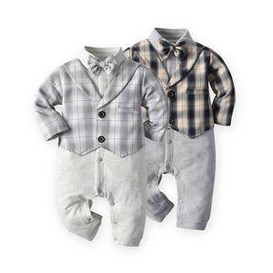 New 2020 autumn winter baby romper gentleman boys rompers long sleeve bow tie newborn jumpsuit baby boy clothes wholesale B2331