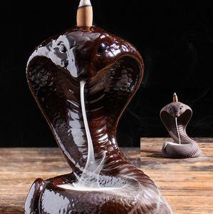 Incense Holder Burner Handmade Ceramic Incense Cones Sticks Holder Home Decor Snake Design Waterfall Backflow Incense Burner Gift KKA8277