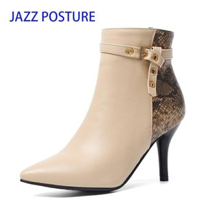 Ankle Women Boots Snake Pointed Toe Footwear Booties Warm Short Plush Buckle 2020 Thin High Heels 8cm Ladies Shoes z290