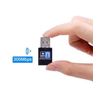 Portátil Mini wi-fi USB dongle cartão adaptador de rede sem fio 2.4G Wifi Receiver Extenal 300Mbps Para Win 7 / 8/10 Mac OS Linux