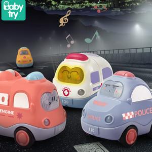 4 pçs / conjunto de som de som dos desenhos animados cartoon brinquedos fofo táxi fricção de polícia bebê brinquedos carro para criança educacional menino presente mais de 1 ano de idade lj200930