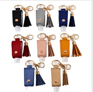 Hand Sanitizer Holder PU Leather Tassel Keychain Bottle Cover Holders Handbag Sanitizer Holder Sleeve Key Chain Bag Gift with Bottle GWC5236