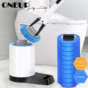 Pincel Toilete Oneup sem ângulo morto Limpeza Toilet Escova descartável Domicílio Longan Lander Ferramenta de limpeza Acessórios para banheiro 201214