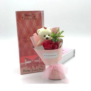 Linda flor de jabón de oso con caja de regalos Un solo paquete de color sólido Flores de rosa de flores de boda de los maestros del día de San Valentín 5QQ J2
