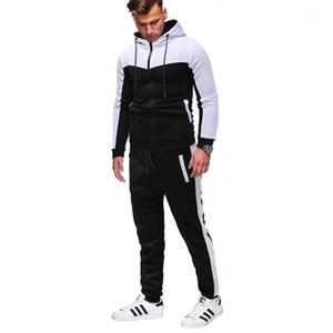 Vestito sportivo Classic Classic Camouflage Cuciture da uomo Casual Casual Slim Hoodies Sling Jacket + Pantaloni Large Size S-XXXL Suit1
