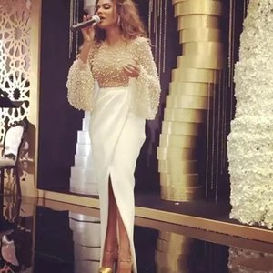 White Pearls Beaded Prom Dresses 2021 Jewel Neck Long Poet Sleeves Arabic Dubai Evening Gowns Front Split Myriam Fares Party Dress AL8242