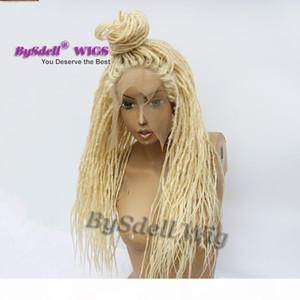 الاصطناعية شقراء اللون dreadlock مضفر الربادة الباروكة الجبهة مربع تجديل الشعر القذرة dreadlock جديلة الدانتيل الجبهة الباروكات للنساء السود