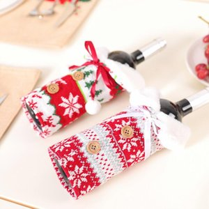 Nordic Style Christmas Wine Dustproof Knit Wine Bottle Cover Champagne Pouches Gift Packaging Bag Party Wedding Table Decoration FWF2568