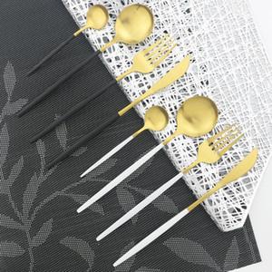 4Pcs Set Black Gold Cutlery Set Knives Fork Spoon Dinnerware Set Stainless Steel Dinner Silverware Kitchen Tableware1