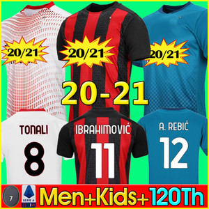 20 21 AC milan soccer jersey AC milan 120th anniversary football shirt IBRAHIMOVIĆ REBIĆ BENNACER THEO ROMAGNOLI SUSO PAQUETÁ RAFAEL LEÃO