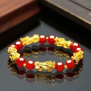 luxury- Feng Shui Obsidian Stone Beads Bracelet Men Women Unisex Wristband Gold Black Pixiu Wealth and Good Luck Women Jewelry Bracelet