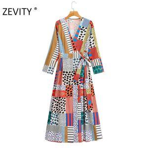 Zevity New Women Vintage Polka Dot Print Patchwork Contraste Color Arco atado Midi Vestido Femenino Kimono Vestido Vestidos Chics DS4422