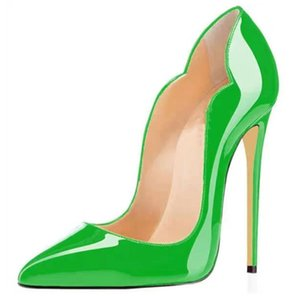 Extreme High Heels Plus Size Women Shoes Pointed Toe Patent Leather Pumps Stiletto Heel Evening Dress Wedding Shoes Bridal 44 45