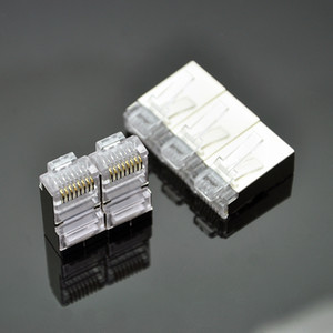 RJ45 CAT6 conector 8P8C modular plug Ethernet Cable Head 1Gbps rede Gigabit Crimp Cabeça de cristal RJ45 Connector 50Pcs