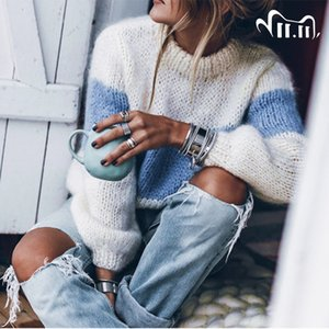 Long Sleeve Mohair ColorBlock 2020 Winter Autumn Woman Sweaters Pullovers Casual Knitted Striped Fuzzy Fluffy Sweater