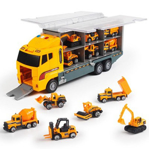 Big Truck Toy 6PCS Mini Alloy Diecast Car Model 1:64 Scale Toys Vehicles Carrier Truck Engineering Car Toys For Kids Boys 210128
