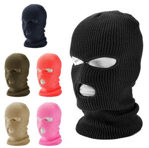 Full Face Cover Three 3 Hole Balaclava Knit Hat Army Tactical CS Winter Ski Cycling Beanie Hat Scarf Warm Face Masks Party Cosplay Cap XA75