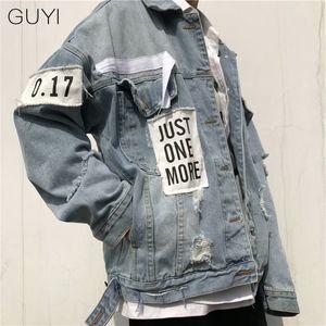 GUYI Retro Letter Ripped Denim Jackets Men Oversize Long Sleeve Hole Outerwear&coats Fashion Streetwear Hip Hop Jackets Casual Y1112