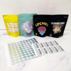 Nuove 3.5g Mylar Borse COOKIES California SF taglio smeraldo Lions Mane Litchi Zio Sam OG Packaging Borse 420 Dry Fiori dell'erba