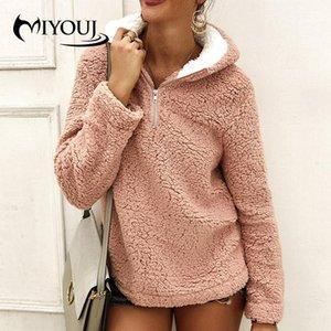 MIYOUJ Long Sleeves Fleece Pullover 2020 New Autumn Winter Plush Tops Casual Streetwear Women Sweatshirts
