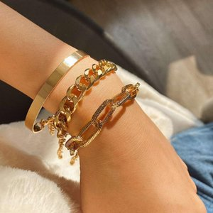 3 pcs ZWPON Metal Link Chain Bracelets for Women Fashion Beach Punk Friendship Bracelets Boho Boutique Hand Jewelry Wholesale