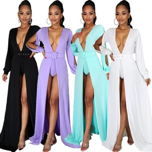 Women Solid Elegant Maxi Dress with Belt Casual Shorts Sexy Split Long Sleeve Cardigan Long Night Club Party Dresses