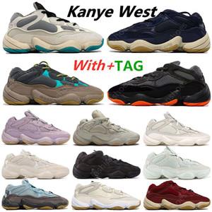 Üst Moda Kanye 500 Lavanta Enflam Yumuşak Vizyon Taş Koşu Ayakkabıları Çöl Sıçan Kemik Beyaz 500 S Yardımcı Programı Siyah Erkek Spor Eğitmenleri Sneakers