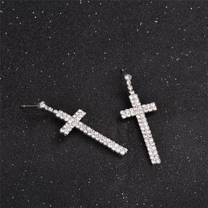 Silver Stud Cross Earrings For Women Men Fashion Wear Accessories Bridal Jewelry Christmas Birthday Valentine's Day Gift GWE4442