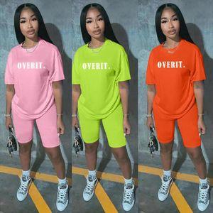Two Piece Set Women Clothes T Shirt Biker Shorts Set Lounge Wear Letters Print Solid Color Outfits For Women Ensemble Femme