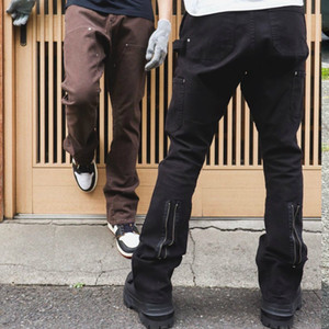 Miglior nero / caffè lavato Zipper Jeans con cintura pantaloni sottili dongguan_ss Streetwear
