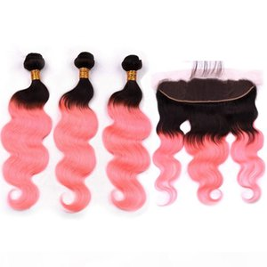 # 1B Rose Gold Ombre Indian Wavy Human Hair 3bundles mit Spitze Frontal Body Wave Rosa Ombre Haar FEFTS Mit Frontal Spitze Verschluss 13x4