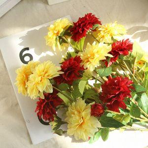 3 головки Георгины Искусственные цветы DIY Шелковый Daisy хризантема Fall Vivid Поддельный цветок и листья Свадьба украшение сада g4iQ #