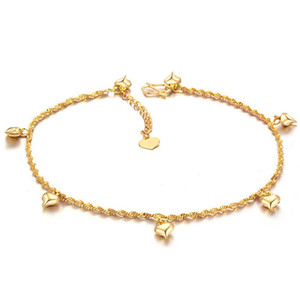 Womens Anklet Chain 18kGold Filled Solid Beach Foot Chain Link with Heart Design For Lady Classic Style Sexy Jewelry 25cm Long